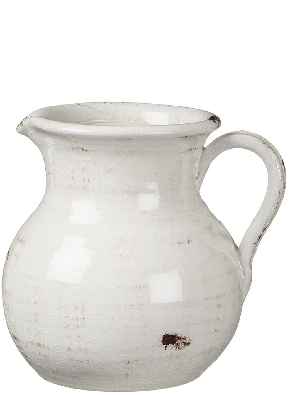 Sullivans Ceramic Vase, 8 x 9 Inches, Distressed White (CM2515)