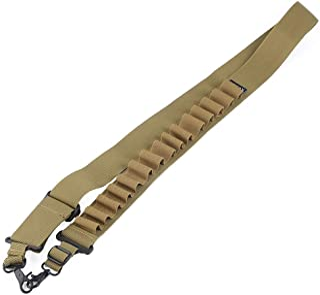 Shotgun Ammo Sling,Tactical 2 Point Shotgun Shell Gun Sling Strap Holds 15 Shells for 20ga and 12ga(Khaki)
