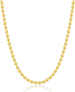 14k Real Gold 1.0 mm Ball Bead Chain Necklace for Women and Men, 18 Inc