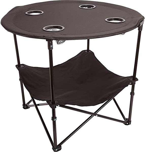 Preferred Nation Folding Table Polyester With Metal Frame 4 Mesh Cup Holders Compact Convenient Carry Case Included Black