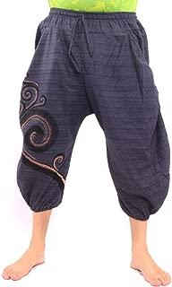 jing shop Short Harem Pants Boho Hippie Chic Cotton with Swirl Print Unisex