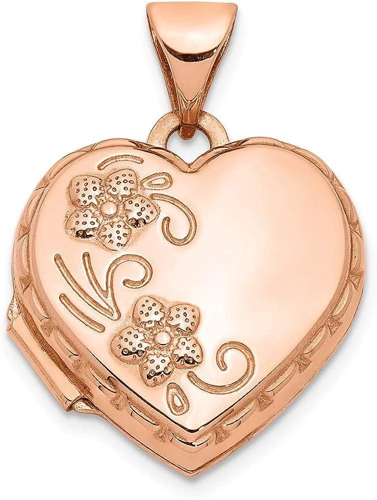 14k Rose Gold 15mm Domed Necklace Sale Fashionable Locket Heart Pendant