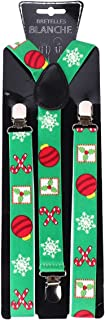 KESYOO Men Christmas Spirit Buckle-Down Suspenders and Bow Tie Candy Cane Printed Suspenders Men Holiday Christmas Party C...