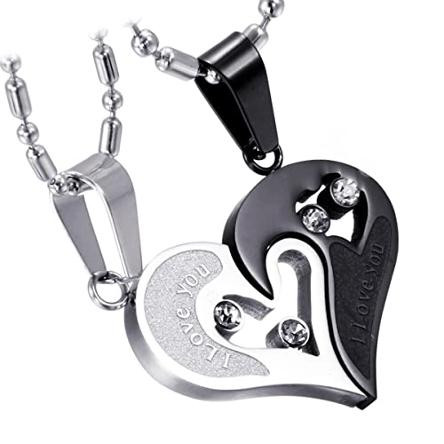 c170d34cfa Cupimatch 2-Pieces Men Women Stainless Steel I Love You Heart Rhinestone  Puzzle Matching Pendant