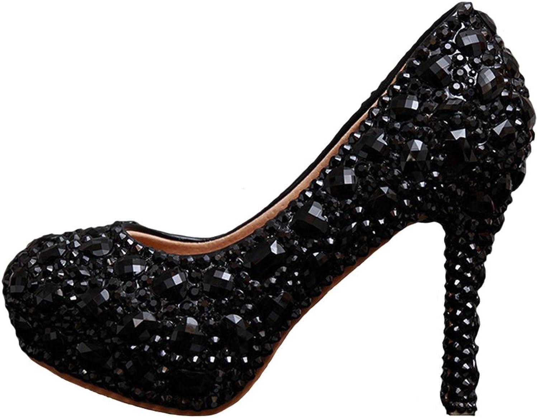 Y&C Women's Crystal Bridal Heels Hand Made Wedding shoes