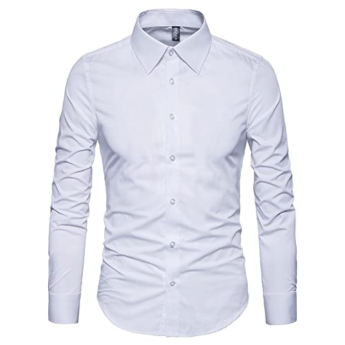 61fcc7581 Manwan walk Men's Slim Fit Business Casual Cotton Long Sleeves Solid Button  Down Dress Shirts