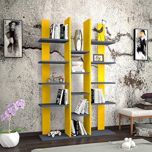 Homemania Libreria Misu, Legno, Giallo-Antracite, 98,6x22x150 cm