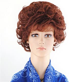 SherryShine Halloween Cosplay Wigs for Women 11 inches Short Curly Full Head Fluffy Ladies Wigs with Bangs and Free Cap and Comb(SXD0370) (Red brown)