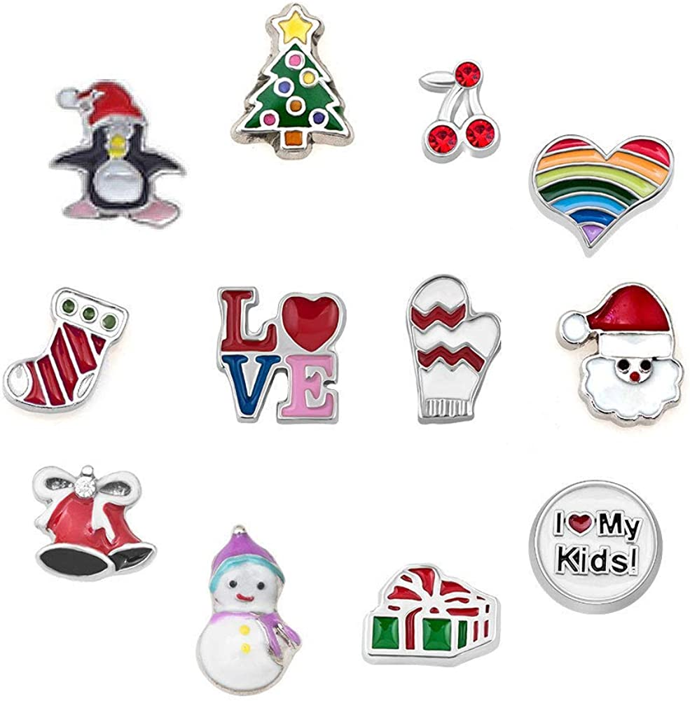 JewelryHouse Christmas Series Charms Tree Socks Santa Clause Floating Charms for Glass Living Memory Lockets Necklace