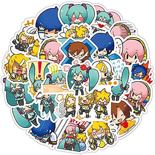 XXCKA 40 Pegatinas de Dibujos Animados de Hatsune Miku, Bonito Material de Cuenta de Mano de Anime japonés, Maleta, Pegatinas de Graffiti con Cuentas de Mano para niños
