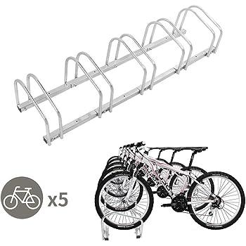 Adjustable Bike Rack 5 Bicycle Floor Parking Stand Storage Silver New