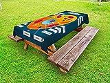 ABAKUHAUS Lehrreich Outdoor-Tischdecke, Wissenschaft in der Schule, dekorative waschbare Picknick-Tischdecke, 145 x 305 cm, Mehrfarbig