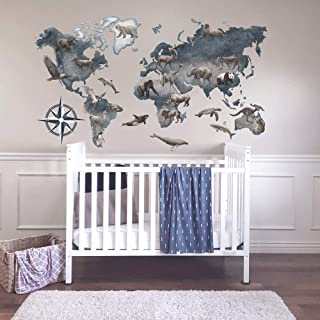 World Map With Animals Wall Decal Baby Boy Nursery Wall Decor
