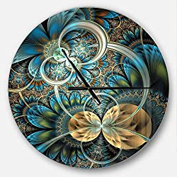 Designart Blue Symmetrical Gold Fractal Flower' Oversized Modern Metal Clock, Circle Wall Decoration Art, 23x23 Inches