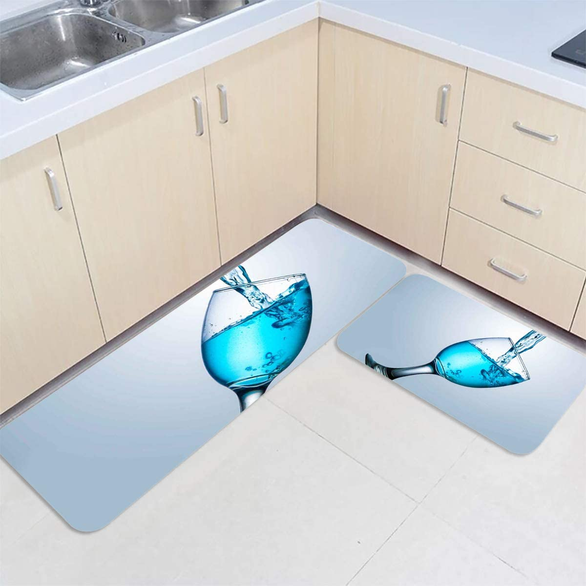 Kitchen New product!! Rugs Set 2 Pieces Blue Under blast sales Cup Gr Goblet Liquid Tilted Wine