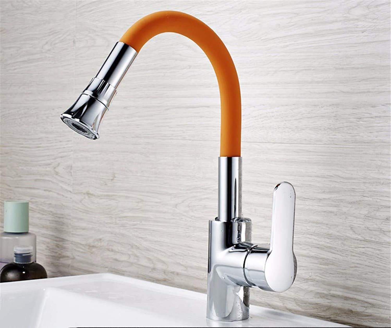Pyty123-Faucet Basin Faucet All-Copper Single Hole Hot And Cold Faucet Bathroom Above Counter Basin Universal Faucet, orange