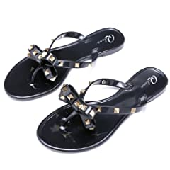 271fcb06dc26 Qilunn Women Studded Bow Flip Flops Jelly Thong Sandals Rubbe .