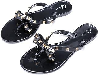 Women Studded Bow Flip Flops Jelly Thong Sandals Rubber Flat Summer Beach Rain Shoes