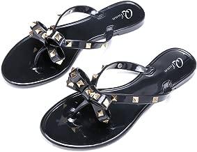 Qilunn Women Studded Bow Flip Flops Jelly Thong Sandals Rubber Flat Summer Beach Rain Shoes