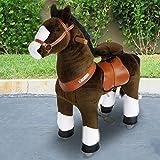 PonyCycle®Shop ORIGINAL  Amadeus  Pferd hell braun,Pony auf Rollen fahrendes Schaukelpferd und Kuscheltier für Ihr Kind Klein N3152