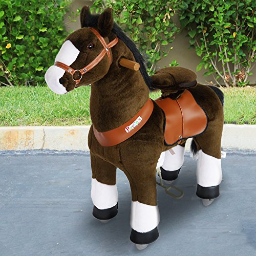 'Horse Pony Cycle® Shop Original' Amadeus Light Brown Rocking Horse Pony with Wheels Rolling and Soft Toy for Your Child Small N3152