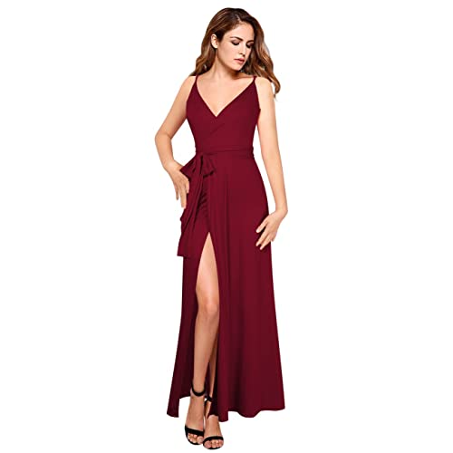 ce9181e4d17ec GlorySunshine Women Vintage V-Neck Split Side Maxi Long Evening Gown  Dresses Upgrade