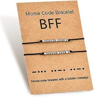 Shonyin Morse Code Bracelet Best Friend Bracelet Set Friendship Jewelry Gift for 2 Sister Girl Women Men