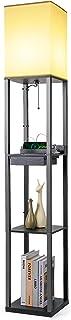 Tomons Lampadaire en Bois, avec Port de 2 Chargement USB, avec 3 Tablettes de Rangement 1 Tiroir, 1,6M, Douille E27, pour ...