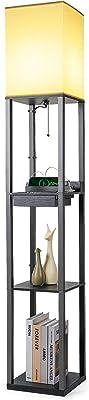 Tomons Lampadaire en Bois, avec Port de 2 Chargement USB, avec 3 Tablettes de Rangement 1 Tiroir, 1,6M, Douille E27, pour chambre et salon