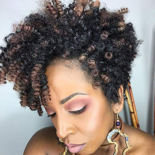 Queentas 3 pack 10 inch Bounce African Collection Crochet Braiding Hair Carrie Curl(8mm) Synthetic Hair Extension (Natural Black/Brown)