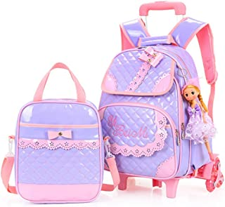 Hollwald Cute Fashion Lovely Trolley Bag Girls Wheeled Travel Rolling Backpack/Rucksack for Short Breaks Holidays Sleepovers and School Trips Two-piece set Luggage with Small Book Bags Waterprooffor Boys Girls Kids Teenagers Students (Purple)