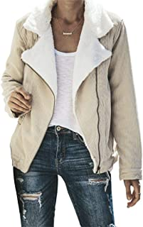 Asyoly Womens Lapel Zip Up Faux Fur Shearling Fuzzy Fleece Jacket Outwear with Pockets