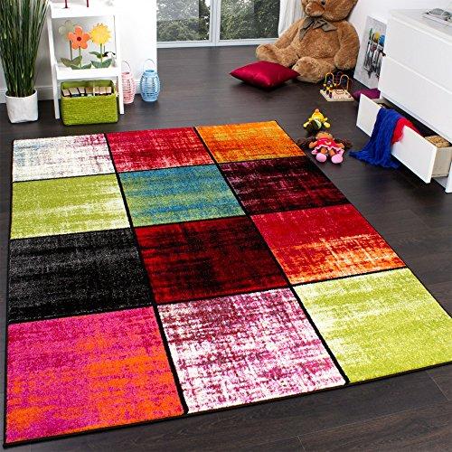 Paco Home Teppich Kinderzimmer Karo Kinderteppich Mehrfarbig Meliert Rot Pink Grün Blau, Grösse:80x150 cm