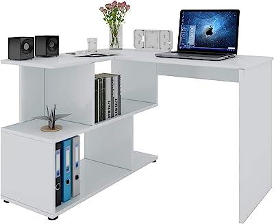 WOLTU TS64ws Table de Bureau en aggloméré,Table de Travail PC Table d'ordinateur avec étagères, 120x100x77cm,Blanc