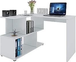 Woltu Mesa de Ordenador Escritorio Puede Girar el Angulo Mesa de Trabajo PC Mesa Port/átil con Estantes 120x100x74cm MDF Blanco TS65ws WxDxH