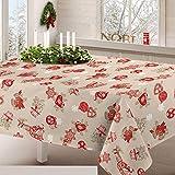 Centesimo Web Shop Tovaglia Natalizia in 4 Misure Jacquard Italia Natale Invernale Fiocchi Stelle Inverno - Beige - 140x140 cm