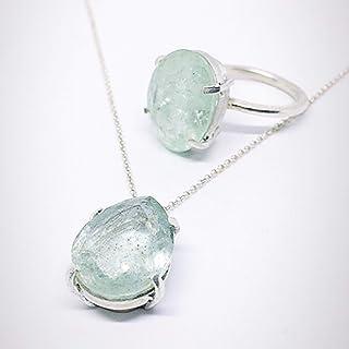 Meraviglioso anello e pendente in argento sterling con eccezionali acquamarine blu/verdi naturali di 31.480 carati totali.