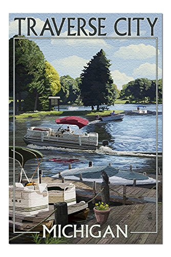 Traverse City, Michigan - Pontoon Boats 43922 (19x27 Premium 1000 Piece Jigsaw Puzzle for Adults, Made in USA!)