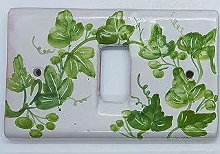 Placchette Bticino Magic Ceramica Handmade Le Ceramiche del Castello Made in Italy (1 foro/pulsante, Edere verdi)
