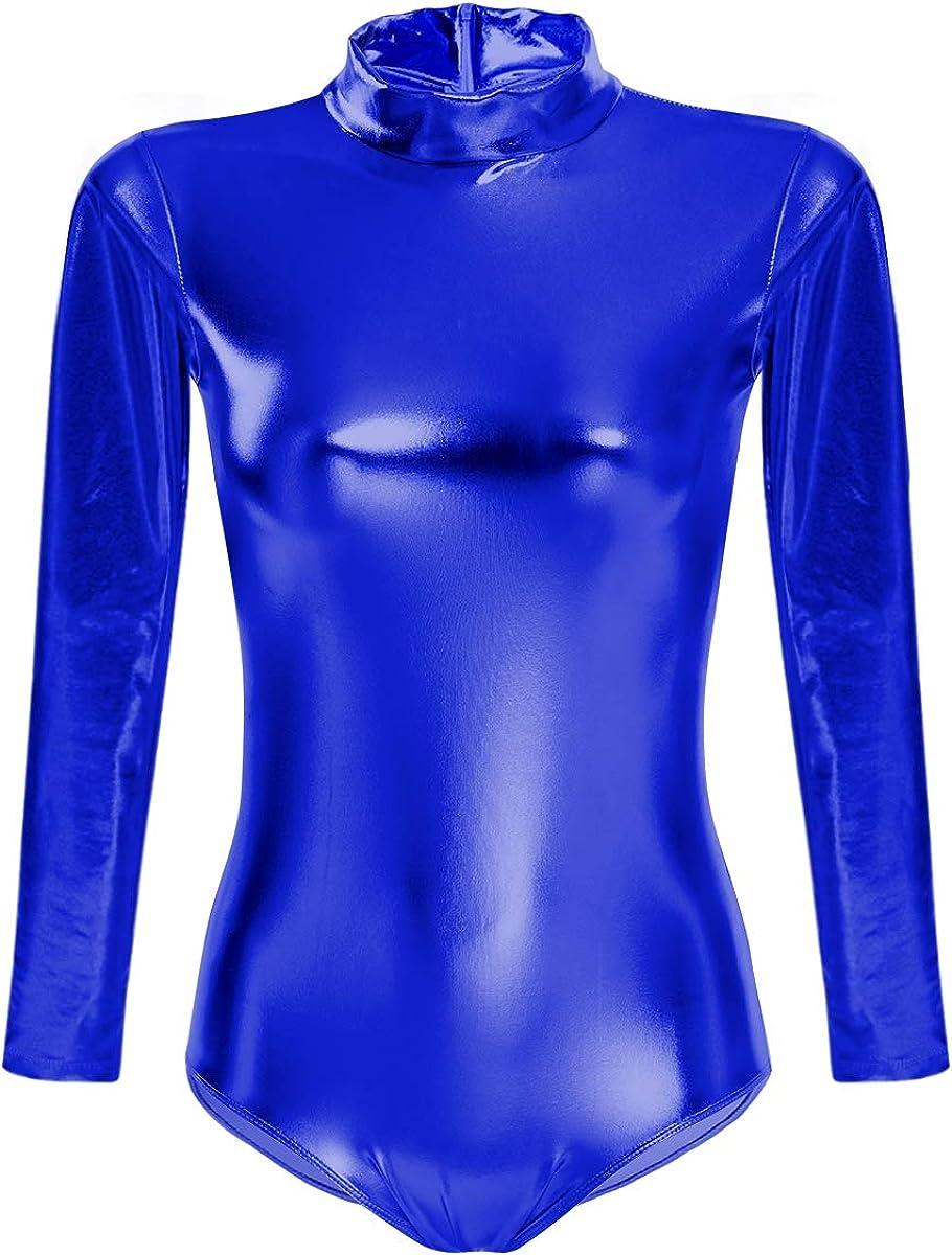 Women Turtleneck Leotard Shiny Metallic Dance Dealing full price reduction B outlet Gymnastic Ballet