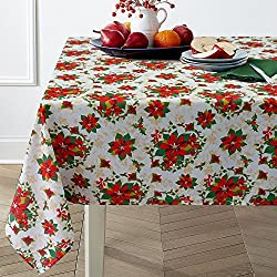 40%OFF Hipinger Christmas Ribbons Printed Fabric Tablecloth,Heavyweight Wrinkle-Free Stain Resistant, 60-Inch-by-120 Rectangle, Seats 12 to 14 People, Flower