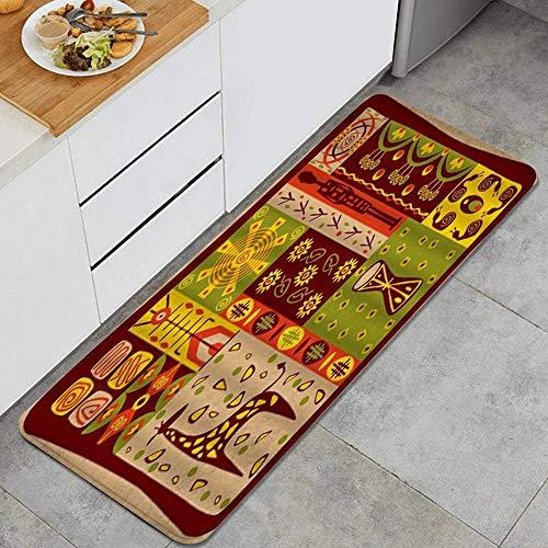 HARXISE Küchenfußmatten Küche Bodenmatte Komfort,Vintage Primitive Piktogramm National Characteristic Tradition Collage Wandbild,rutschfeste Küche Teppiche Indoor Outdoor