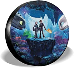 Fahaocaila How-to-Train-Your-Dragon Universal Spare Tire Cover,Waterproof Dust-Proof Spare Wheel Tire Covers for Trailer, RV, SUV,Truck and Many Vehicle,Fit 14-17