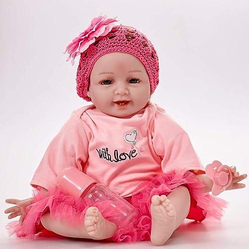 Hongge Reborn Baby Doll,Lebensechte vollen Weißhen Gel Silikon Reborn Puppe lebensecht Neugeborenen Puppe Spielzeug 55cm