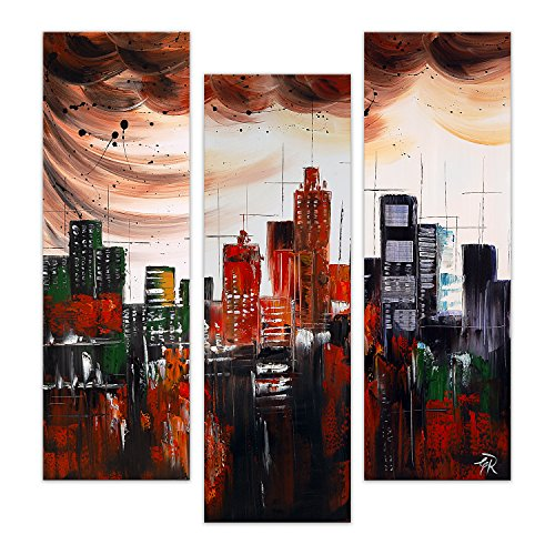 Arte Dal Mondo Edgar Ramirez Città Astratta Wandverzierung, Stoff, Holz, Bunt