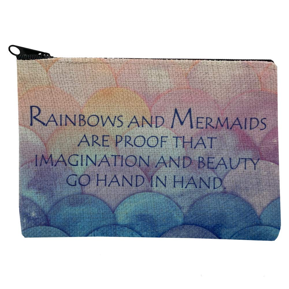 Ranking TOP12 Rainbows and 2021new shipping free Mermaids Linen Small Makeup C Zippered Bag Cosmetic