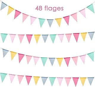 BUONDAC 2pcs Guirnaldas Banderines Banderitas Corazones Tela Decoraci/ón Fiesta Cumplea/ños Boda Bautizo Jard/ín Hogar Banderas Triangulares Color Azul