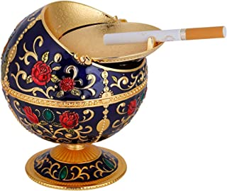 Vintage Windproof Ashtray, Portable Metal Globe Ashtray with Lid Cigarette Ashtray Tabletop Indoor and Outdoor Use Men Women