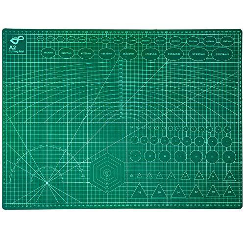 Tabla de Corte A2 Doble Cara 60 x 45cm Plancha de Corte 3 capas para Costura y Manualidades Base de Corte para Patchwork Cutting Mat, Color Verde