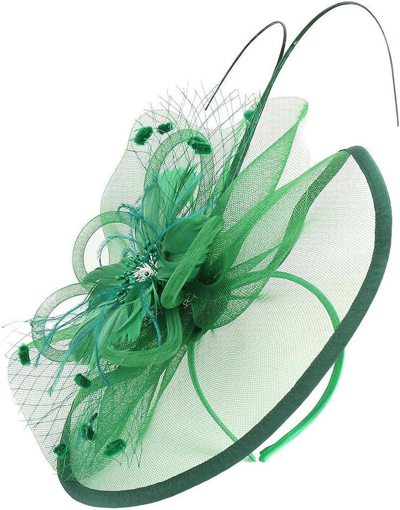 iLUGU Womens Fascinator Hat Church Kentucky Derby Headwear Elegant Hair Clip Summer Cute Cocktail Organza Wedding Tea Party